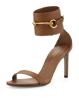 Gucci Ursula Leather Ankle-Wrap Cage Sandal, Tobacco