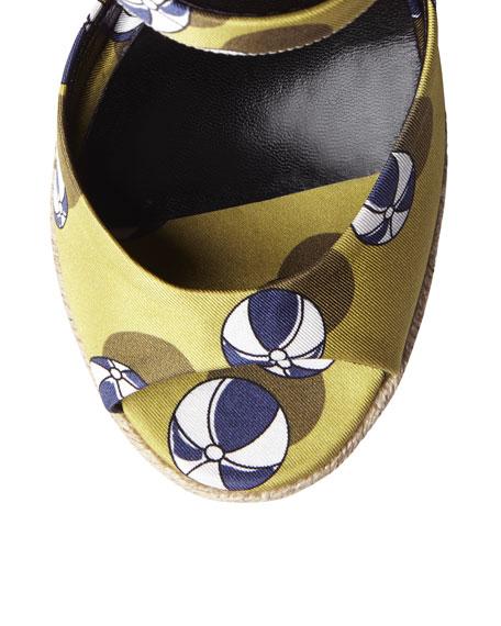Hollie Printed Satin Wedge Sandal, Lime/Blue