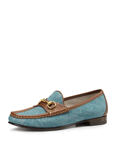 Gucci 60th Anniversary Loafer, Denim/Tobacco