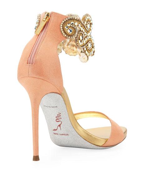 Crystal Embellished Ankle Bracelet Sandal