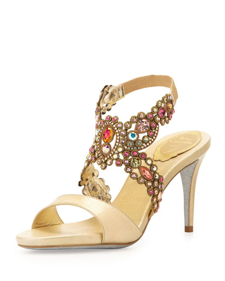 Jeweled Metallic Halter Sandal, Gold Multi