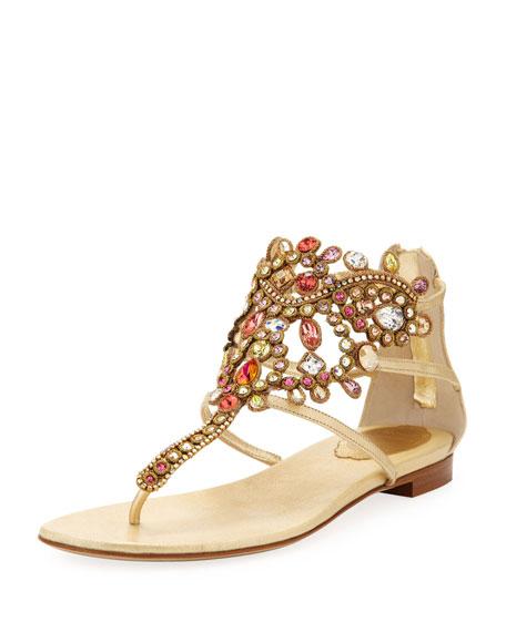 Chandelier Bejeweled Ankle Flat Sandal