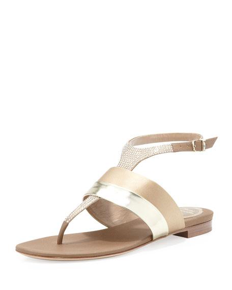 Crystal Flat Banded Thong Sandal