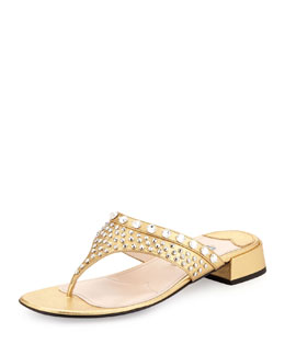Prada Metallic Crystal Thong Sandal
