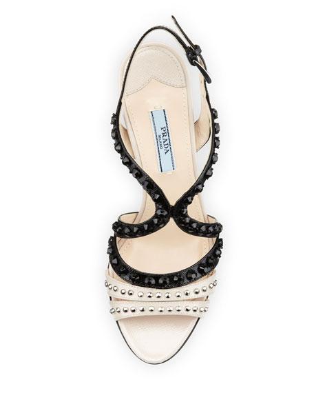 Bicolor Strappy Studded Sandal