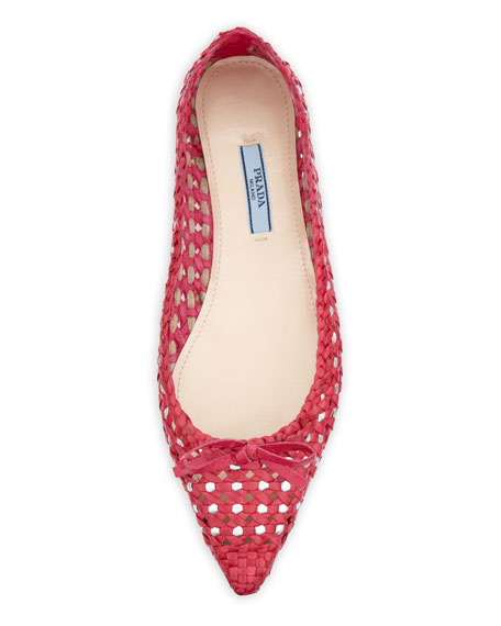 Woven Point-Toe Bow Flat