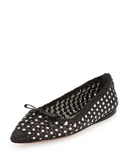 Prada Woven Point-Toe Ballet Flat, Black/White