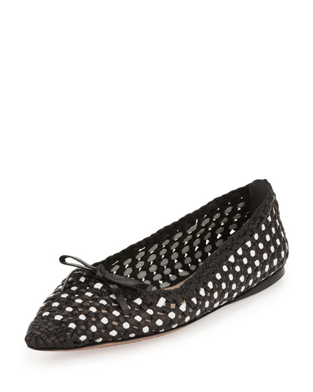 Woven Point-Toe Ballet Flat, Black/White