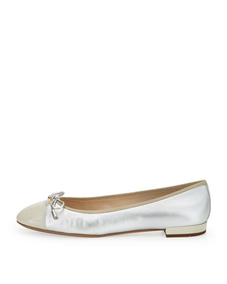 Cap-Toe Bow Ballerina Flat, Silver/White