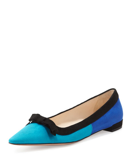 Suede Tricolor Pointed-Toe Ballet Flat with Bow, Turquoise/Blue