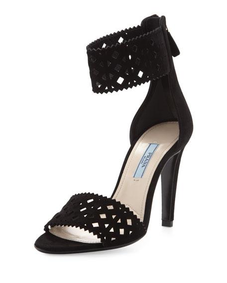 Cutout Suede Ankle-Wrap Sandal