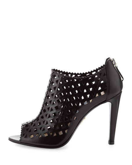 Cutout Leather Bootie, Black
