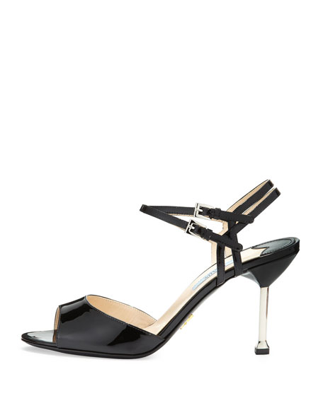 Patent Double-Wrap Sandal, Black