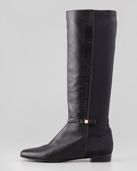 Stretch-Back Napa Knee Boot, Black