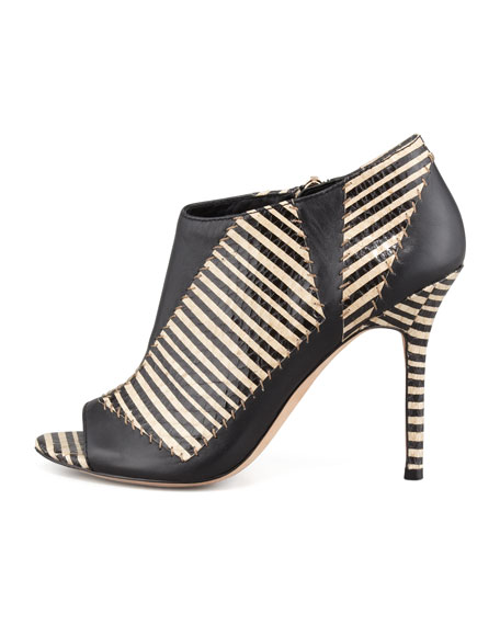 Lark Striped-Snake Patchwork Bootie