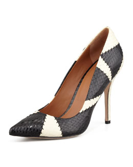 Rachel Roy Alta Patchwork Snake Pump, Black/White