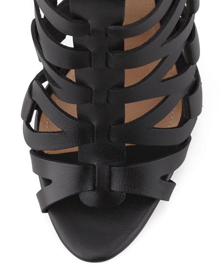 Eirini Knee-High Gladiator Sandal, Black