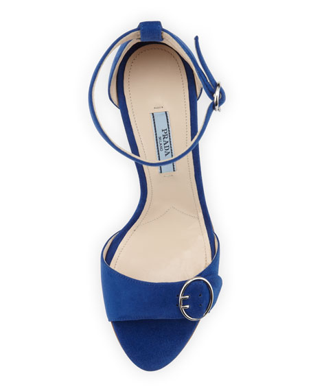 Suede Ankle-Wrap Sandal With Buckled Strap, Blue