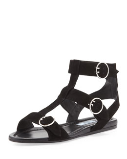 Prada Suede Triple Buckle Flat, Black