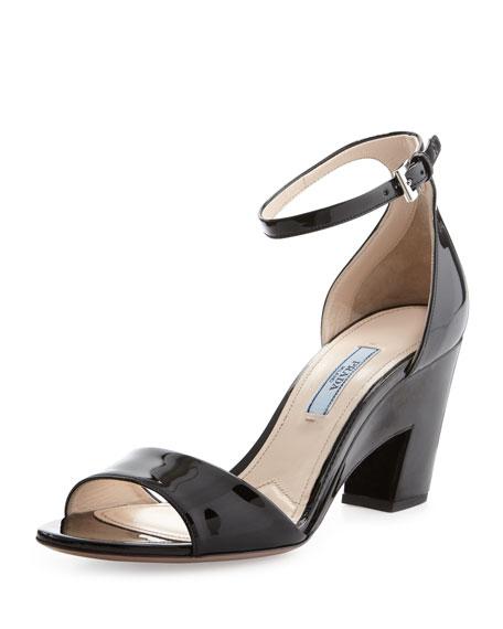 Patent Cutout-Heel Sandal, Black