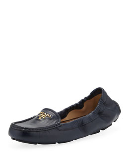 Prada Leather Logo Scrunch Driver, Navy