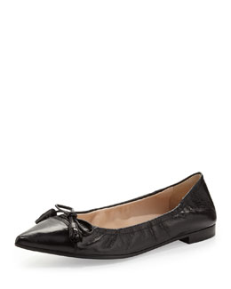 Prada Point-Toe Ballerina Flat, Black