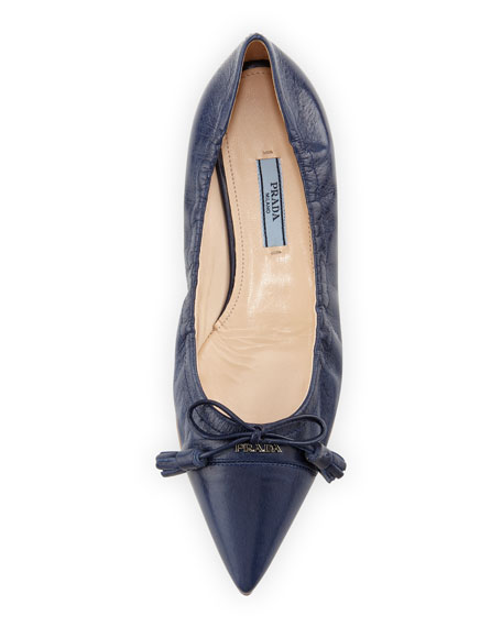 Leather Ballerina Flat with Bow Detail, Blue