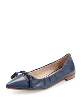 Prada Leather Ballerina Flat with Bow Detail, Blue