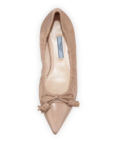 Vitello Pointed Bow Ballerina Flat, Beige