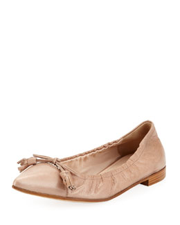 Prada Vitello Pointed Bow Ballerina Flat, Beige