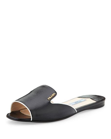 Vernice Saffiano Bicolor Open Toe Slide