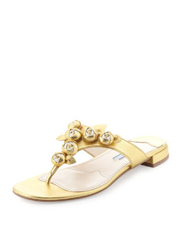 Prada Metallic Rose Thong Sandal, Gold/White
