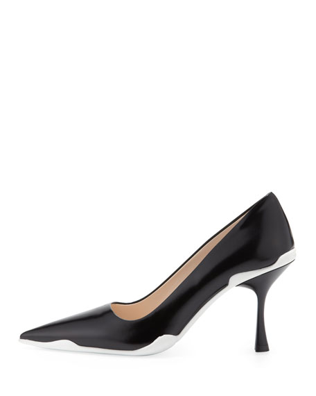 Spazzolato Pointed-Toe Pump with Flare Heel, Black/White