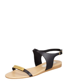 Stella McCartney Logo-Plaque Flat Sandals, Black