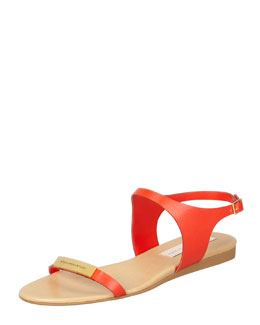 Stella McCartney Logo-Plaque Flat Sandals, Lipstick