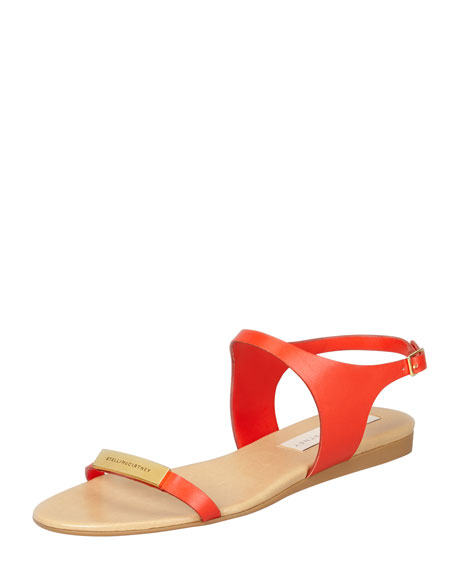 Stella McCartney Logo-Plaque Flat Sandals, Lipstick
