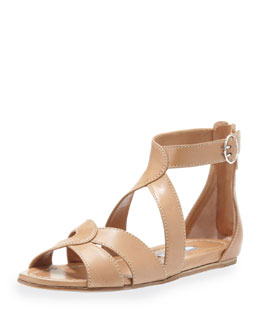 Prada Napa Crisscross Flat Leather Sandal, Tan