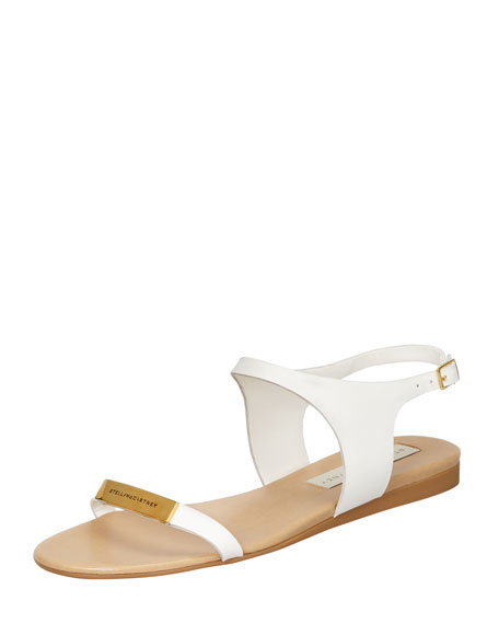 Logo-Plaque Flat Sandals, White