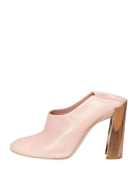 Wooden-Heel Convertible-Mule Pump, Rose