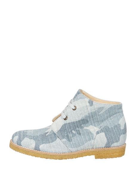 Camo Denim Lace-Up Boot, Blue