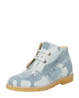 Stella McCartney Camo Denim Lace-Up Boot, Blue