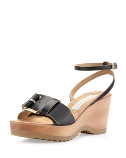 Stella McCartney Linda Ankle-Wrap Cork Wedge Heel, Black