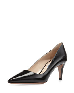 Prada Textured Patent Leather Point-Toe Pump, Black