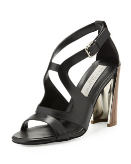 Stella McCartney Wooden-Heel Cutout Sandal