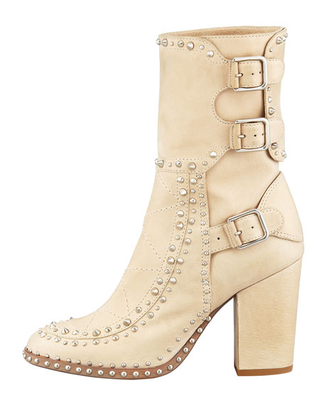Baulence Studded Triple-Buckle Boot, Beige
