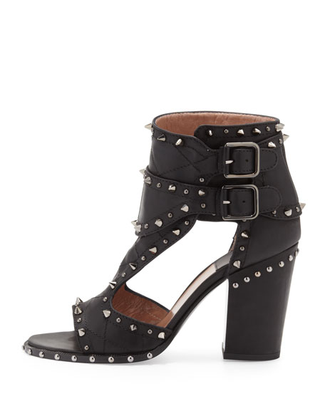 Studded Two-Buckle Sandal, Black