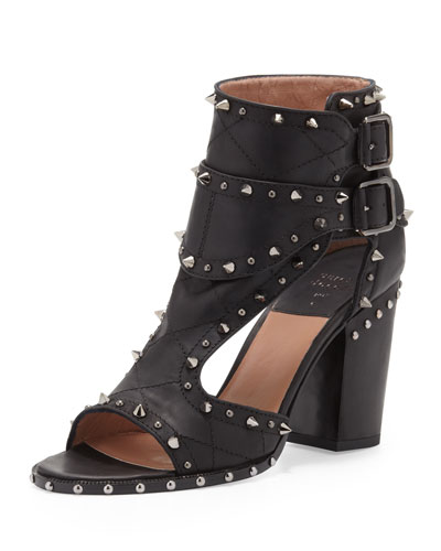 Studded Two-Buckle Sandal, Black