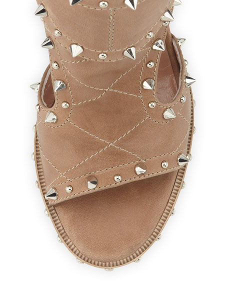 Studded Two-Buckle Sandal, Beige