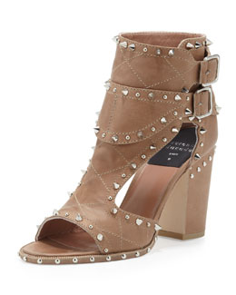 Laurence Dacade Studded Two-Buckle Sandal, Beige