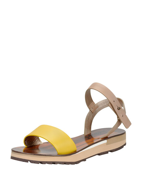 Chunky Flat Sandal, Yellow/Multi